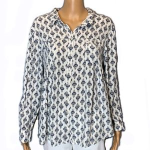 Style & Co Print Button Down Top